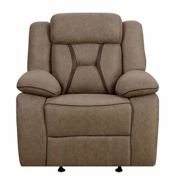 Modern Glider Recliner With Contrast Stitching, Brown-Coaster