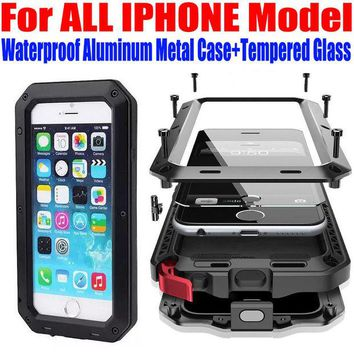 DCCKHY9 Case For IPHONE 7 Plus 6S PLUS SE 5S 5G 4S Heavy Duty Shock Drop Waterproof Aluminum Metal Phone Cover + Tempered glass IP653