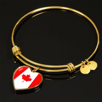 Canadian Pride - 18k Gold Finished Heart Pendant Bangle Bracelet