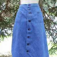 70s Wrangler Boho Hippie Denim Blue Jean Skirt High Waist Knee Length