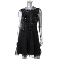 Adrianna Papell Womens Mesh Sequined Semi-Formal Dress