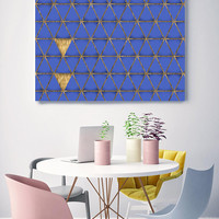 """Blue and Gold 9, Extra Large Industrial Geometrical Blue Gold Canvas Art Print Wall Decor, Modern Wall Art up to 48"""" by Irena Orlov"""