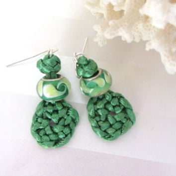 Celtic Earrings Spring Green Knotted Circle of Life and Glass Bead Dangle