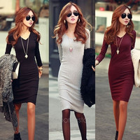 Sexy OL Women V Neck Long Sleeve Knit Slim Sweater Bodycon Pencil Dress = 1956532100