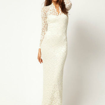 Floral Lace Sheer Long Sleeve V-Neck Maxi Dress