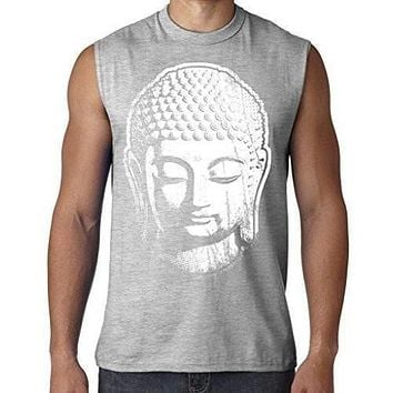 Mens Big Buddha Head Sleeveless Muscle Tee Shirt