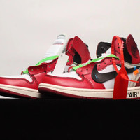 [Free Shipping ]Air Jordan 1 Off White AJ1 Basketball Sneaker