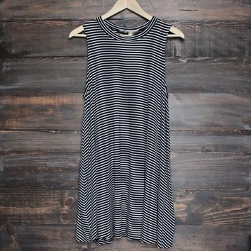BSIC - boho striped womens tank mini dress - black