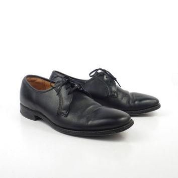 Black Oxford Shoes Leather Vintage 1960s Florsheim Men's size 6 1/2 D
