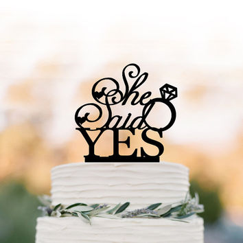She Said Yes bridal Shower Cake topper with wedding ring, Briday party cake topper, unique cake topper for wedding bridal shower table decor