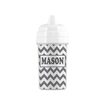 Personalized Gray Chevron Sippy Cup