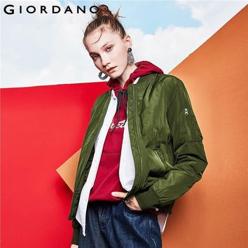Trendy Giordano Women Bomber Jacket Women Quilted Solid Bomber Jacket Polyester Wearable Zip Coat Women Pocket Ribbed Windbreaker AT_94_13