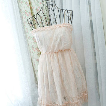 MOTHERS DAY SALE Baby Pink Women Lace Dress -  lace strapless ruffles trim mini dress top Pink