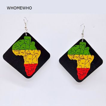 Tribal Unfinished Painting Wood Geometric Square Africa Map Drop Earring Retro Handmade Wooden African Indian Hiphop Ear Jewelry