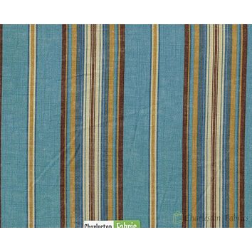Paula Cir Stripe Fabric By Edgar Blue Brown  Gold