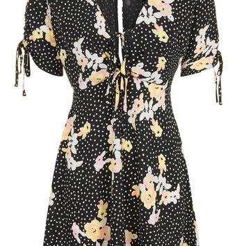 Spot Floral Tie Tea Dress - Sale - Sale & Offers
