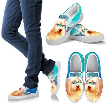 Old English Sheepdog Print Slip Ons For Women-Free Shipping