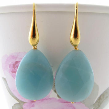 Amazonite drop earrings with golden drops gemstone jewelry italian sterling silver 925 Sofia's Bijoux Made in Italy