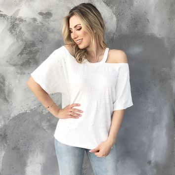 Distress Cold Shoulder Ivory Top