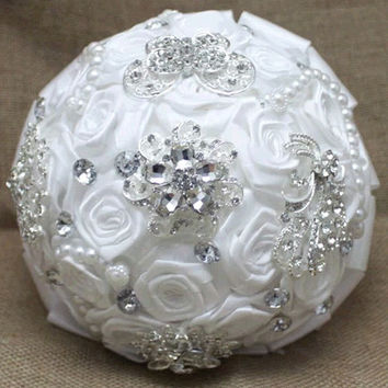 white handmade Wedding bouquet lace flower silk pearl diamond Bride Hands Holding Rose Flower Wedding Bridal Bridesmaid Flower = 1929321988