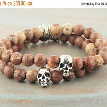 On Sale Ocean Jasper Stretch Bracelet Silver Tone Skull Tan Brown Stone Mala Ethnic Tribal Natural Gemstone Jewelry For Him For Her