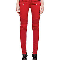 Balmain - Stretch Brushed-Cotton Moto Jeans - Saks Fifth Avenue Mobile