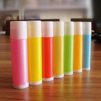 Free Shipping 100pcs/lot 5g Empty  Candy Color LIP BALM Tubes Container Lipstick Bottle For DIY Plastic Lip Cosmetic Packaging