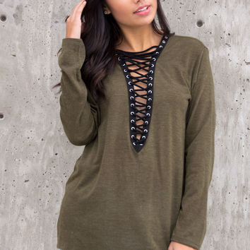 Minka Knit Lace Up Front Top - Olive