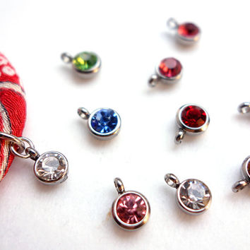 Tiny Rhinestone Charm for Kimono Necklace, Bracelet, Silver tone tray charm - pick your color