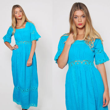 Vintage 70s Mexican WEDDING DRESS Turquoise CROCHET Pin Tuck Maxi Dress Boho Ethnic Cotton Dress