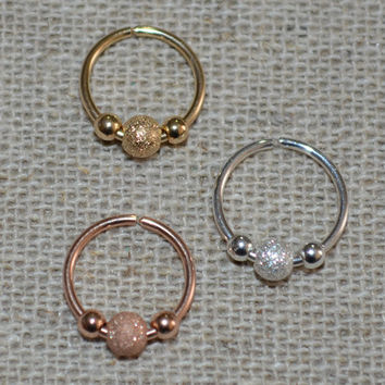 Small 14k Rose Gold Filled Nose Ring, Hoop Earring, 20g Helix Piercing,catchless,seamless,endless,tragus,cartilage/rook 20 Gauge pink gold