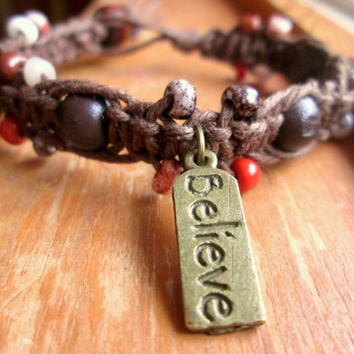 Believe Charm Bracelet Wood Beaded Hemp Jewelry Bohemian Beach Bracelet