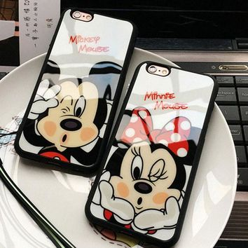 ONETOW Fashion Cartoon Lovers Mickey Mouse Minnie cover soft TPU silicon case For iPhone 7 SE 5/5s 6 6s / plus 7 plus funda Coque cases