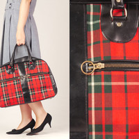 70s Plaid and Vegan Bowling Bag / Printed Carry All Bag / Red and Black Handbag
