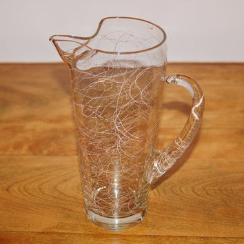 Spaghetti Drizzle Glass Pitcher, Blown Glass Pink Gold Spaghetti String Martini Cocktail Mixer Pitcher, Mid Century Squiggle Glass Barware