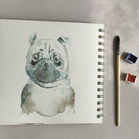 Pug watercolor fine art print - dog portrait illustration