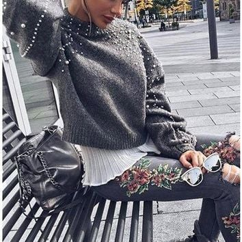 Women's Fashion Winter Round-neck Decoration Pullover Sweater [1447966605409]