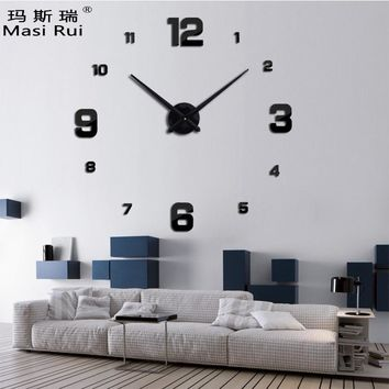 new arrival 3d real big wall clock modern design rushed Quartz clocks fashion watches mirror sticker diy living room decor