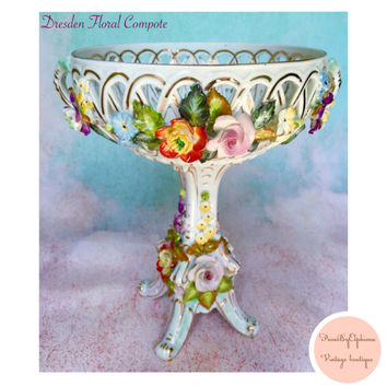 Vintage Porcelain Dresden Carl Theme Reticulated Bolted Flowers Compote Centerpiece Stand Wedding Centerpiece