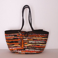 Boho Brown/Orange Basketbag, Autumn Basket Bag, Bohochic Basket Bag