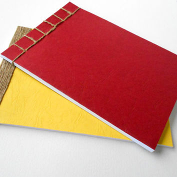 Personilized notebook bound with natural linen thread, two-sided handmade notepad japanese stab bound