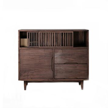Sliding Door Black Walnut Storage Cabinet