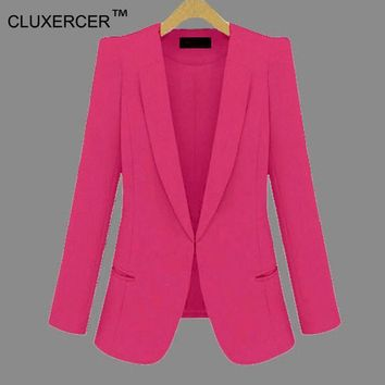 ICIKHY9 CLUXERCER Brand Plus Size 4XL Jackets Women Slim Work Blazer Women Coat Casual Office Suit Jacket Blazer Feminino