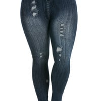 Denim Print Seamless Jeggings Plus Size Dark Blue