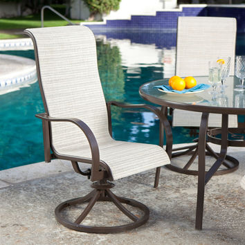 Set of 2 - Outdoor Patio Dining Chair with Swivel Rocker & Padded Sling Seat in Beach