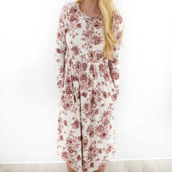Bayside Ivory & Rose Long Sleeve Floral Dress
