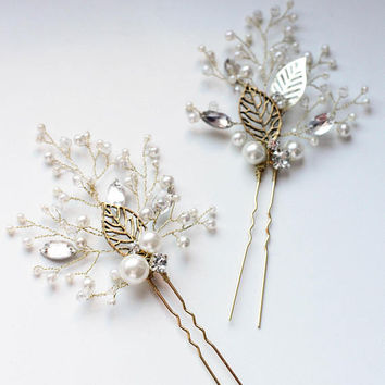 Bridal Hair Accessory Rustic Hair Pins Bridal Hair Pins Wedding Hair Pins Set of Two Flower Leaf Hair Accessory Hair Pins