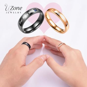 Trendy UZone Fashion Titanium Steel Couple Ring Her King&His Queen Wedding bands Men Women Ring Fate Love Jewelry DIY Gift For Lovers AT_94_13