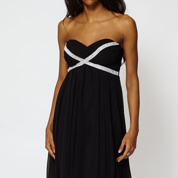 Draped Embellished Top Strapless Pleated Swing Dress