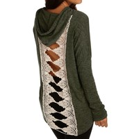 Promo-olive Crochet Back Hooded Sweatshirt